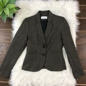 [Calvin Klein] Tan Black Tweed Blazer Career Sz 0